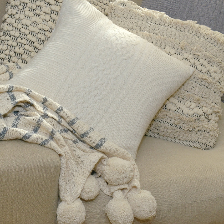 Ivory baby alpaca cushion cover