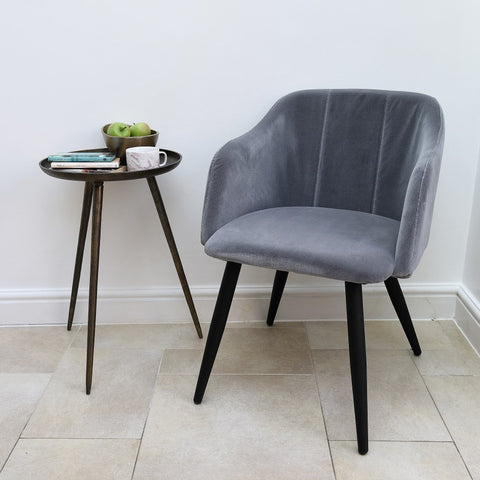 Pernille Cotton Velvet Chair Drizzle