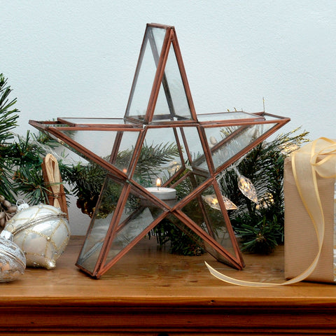 Standing Star tealight holder - copper