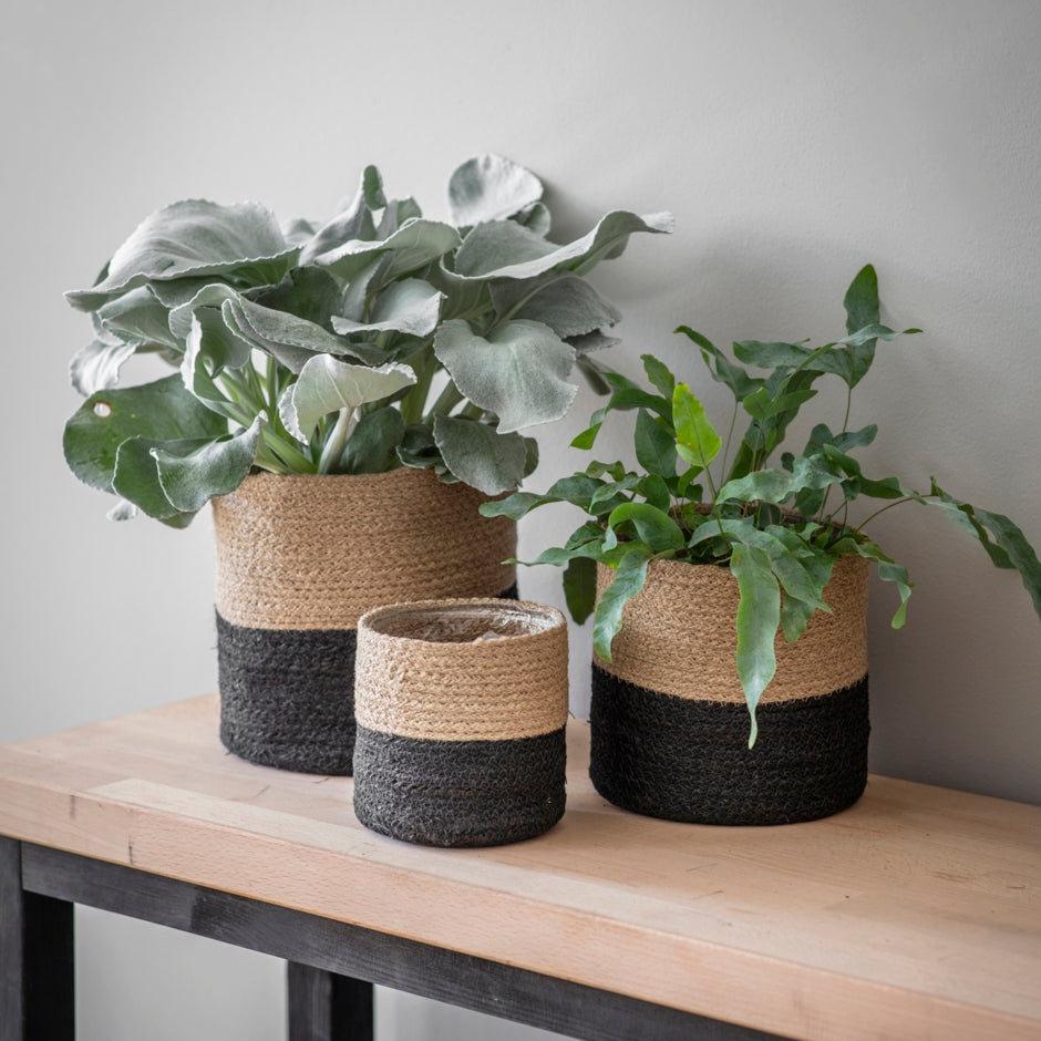 Set of 3 jute pots