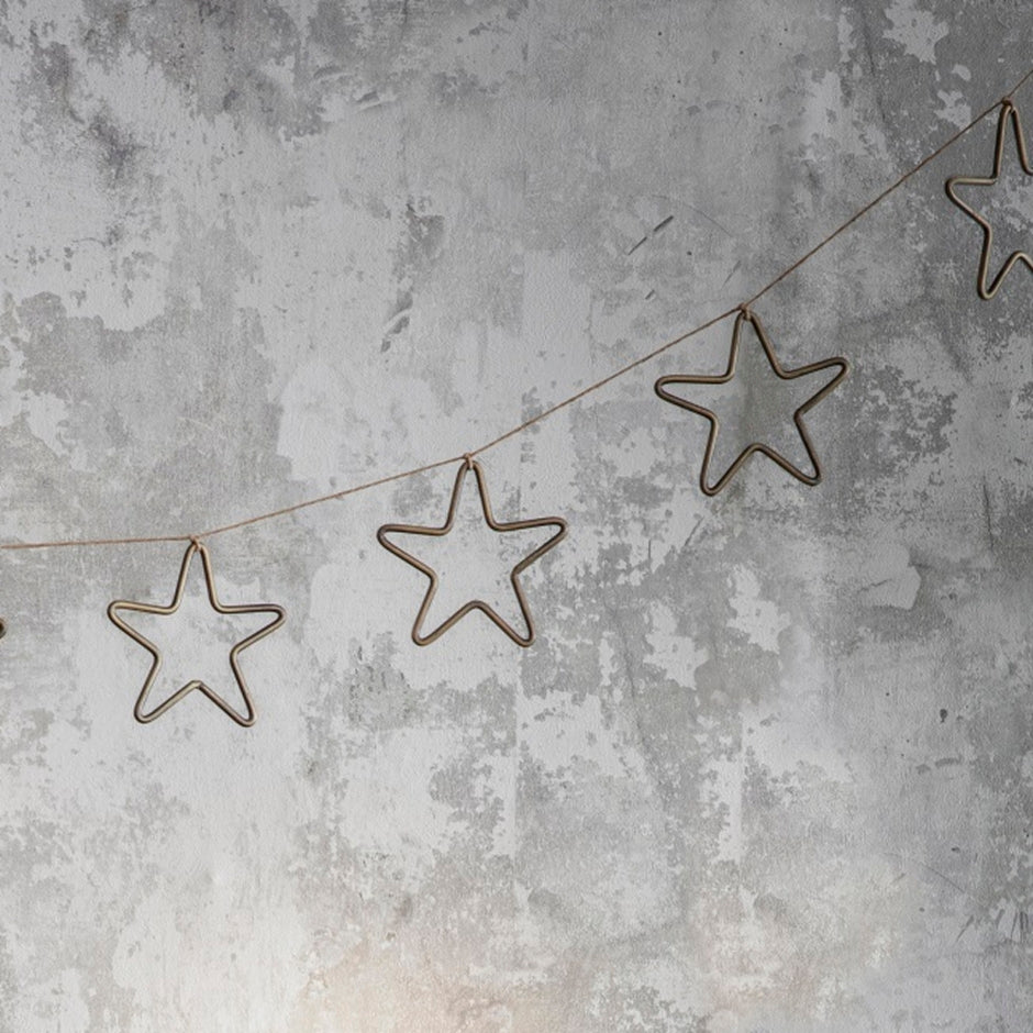 Set of 4 hanging steel stars