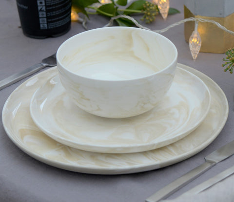 Swirl marble dinner plate - stone (last 4 remaining)