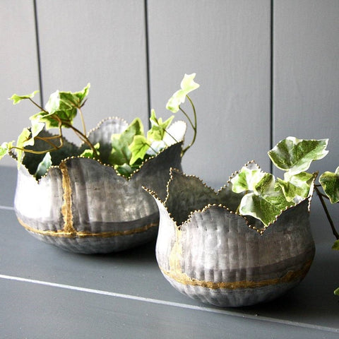 Zinc tulip planters - set of two