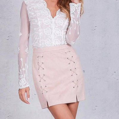 Suede Lace Mini Skirt