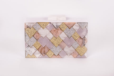 Olympia White Silver Rose Gold Evening Acrylic Clutch by House of Looks