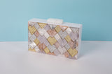 Olympia White Silver Rose Gold Evening Box Clutch by House of Looks