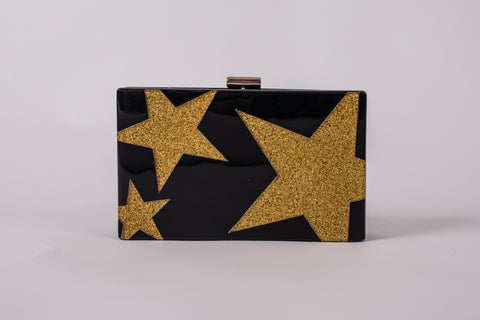 Gold Star and Black Evening Acrylic Box Clutch by House of Looks