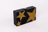 Stella Black with Gold Stars Acrylic Clutch Evening Clutch by House of Looks