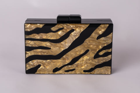 Camilla Gold and Black Evening Acrylic Clutch by House of Looks