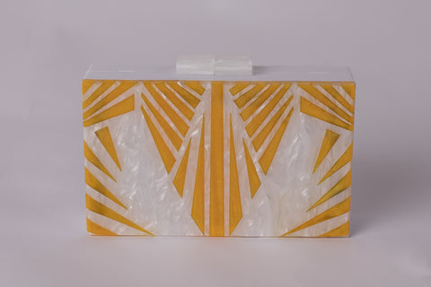 California Evening White Yellow Beach Acrylic Clutch by House of Looks
