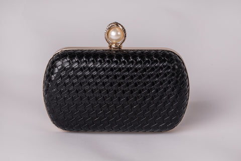 Katrina in Black Pearl Evening Leather Clutch by House of Looks