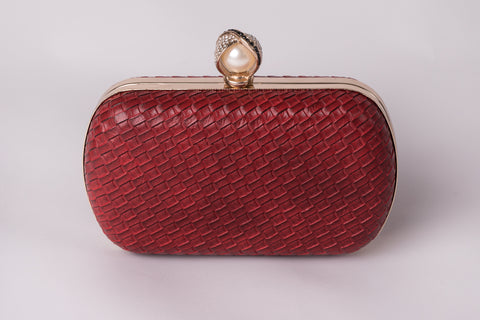 Katrina in Red and Pearl Evening Leather Clutch by House of Looks