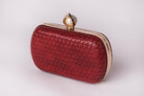 Katrina in Red Pearl Evening Leather Clutch by House of Looks