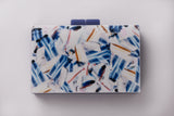 Blue and White Evening Acrylic Box Clutch by House of Looks