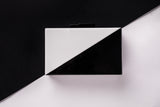 Black and White Split Formal Acrylic Box Clutch by House of Looks