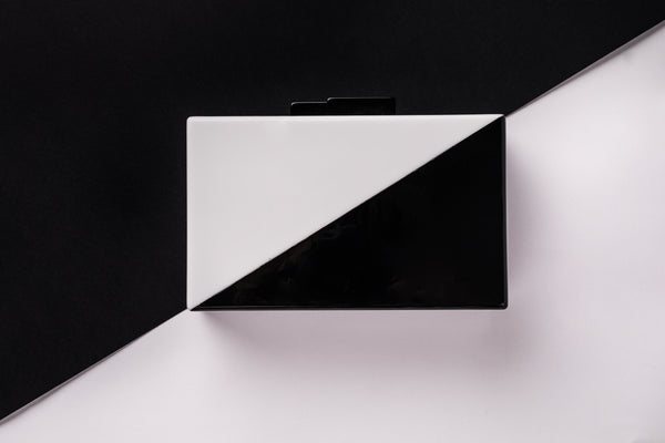 Vertige Black and White Acrylic Evening Clutch Evening Clutch by House of Looks