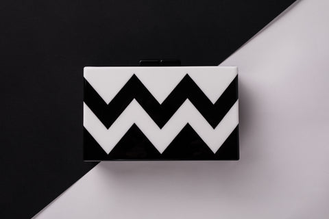 Black and White Evening Clutch Acrylic - Out of Your Head Evening Clutch by House of Looks