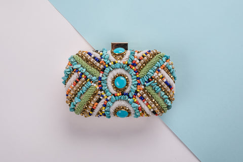 Leila Beaded Multicoloured Clutch Cocktail and Casual Clutch  - House of Looks
