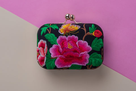 Azelia Flower Embroidered Clutch Clutch  - House of Looks
