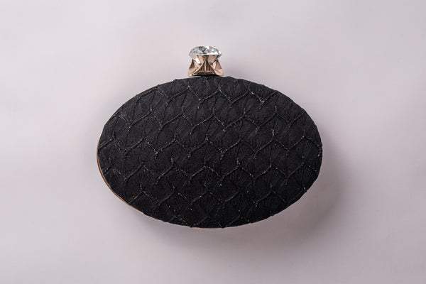 Ophelia in Black Cocktail Fabric Round Clutch by House of Looks