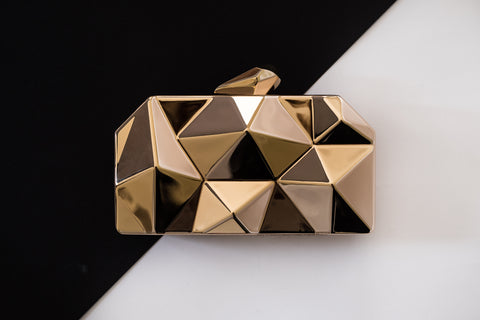 Gold Spike Metallic Evening Clutch by House of Looks
