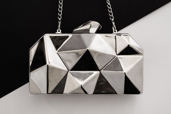Wild Silver Metallic Clutch Evening Clutch by House of Looks