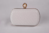 Katrina in White Pearl Evening Leather Clutch by House of Looks