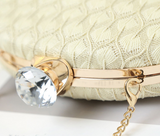 Ophelia in Beige Cocktail Fabric Round Clutch by House of Looks