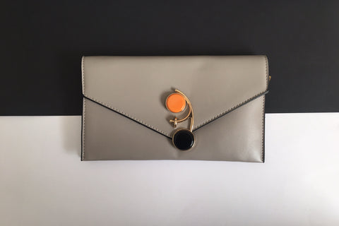 Sophia Grey Cocktail Envelope Wristlet Chain Clutch Clutch  - House of Looks