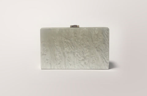 Santorini White Evening Clutch Acrylic Evening Clutch by House of Looks