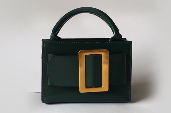 NEW Eleanor Green Leather Bag Evening Clutch by House of Looks