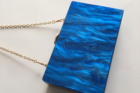 Hey Santorini Ocean Blue Acrylic Clutch Clutch  - House of Looks