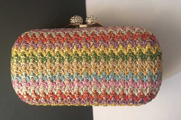 Penelope Rainbow and Gold Fabric Clutch Evening and Cocktails Evening Clutch by House of Looks