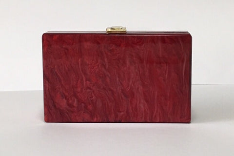 NEW Santorini Scarlet Red Gold Acrylic Clutch Evening Clutch by House of Looks