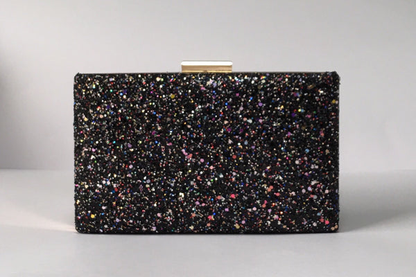 NEW Theodora Black Sparkly Clutch Evening Clutch by House of Looks