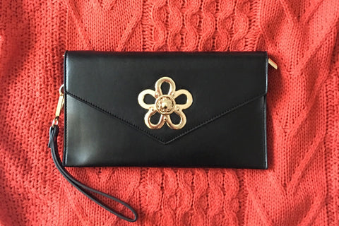 Samantha Black Cocktail Envelope Wristlet Chain Clutch Clutch  - House of Looks