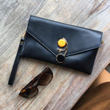 Black Cocktail Leather Wristlet Chain Clutch by House of Looks