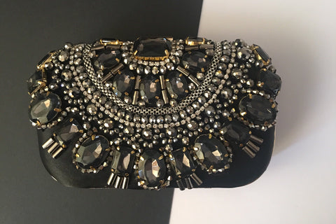 Lisa Evening Black Silver Gold Beaded Clutch by House of Looks