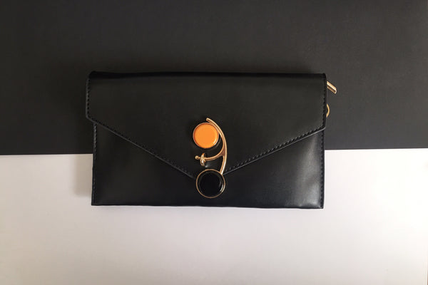 Sophia Black Cocktail Envelope Wristlet Chain Clutch Clutch  - House of Looks