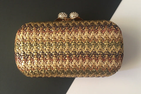 Penelope Evening Brown and Gold Embroidered Clutch by House of Looks