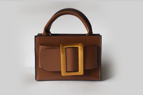 NEW Eleanor Brown Leather Bag Evening Clutch by House of Looks
