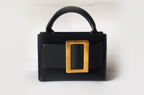 NEW Eleanor Black Leather Bag Evening Clutch by House of Looks
