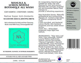 manuka oil body wash label