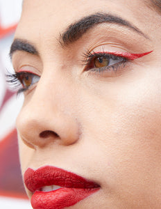 Fallon wears Cherry Bomb (red) Winged Eyeliner Stamp