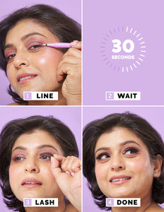 How to apply Quick Lash Adhesive Lash Liner in 3 easy steps. 1 Apply adhesive along lash line. 2 Wait 30 seconds. 3 Add Lashes.
