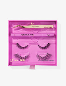 Product image of the Quick Lash Essentials Pack including Dual-Ended Lash Applicator, Adhesive Liner in Clear, False Lashes in style Modest #1 and False Lashes in style To The Point #1