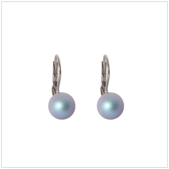 Swarovski Element Classic Pearl Earrings Iridescent Pearl Light Blue