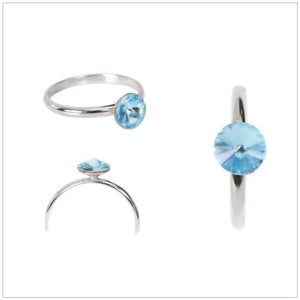 Swarovski Element Petite Ring Aquamarine (Size 58)