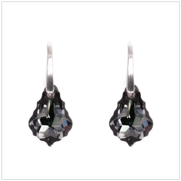 Swarovski Element Baroque Earrings - Silver Night - swarovski jewellery south africa kcrystals