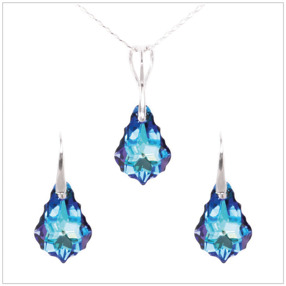 Swarovski Element Baroque Set - Bermuda Blue - swarovski jewellery south africa kcrystals